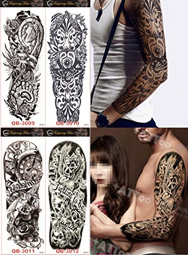 DaLin 4 Sheets Extra Large Temporary Tattoos, Full Arm (Set 4) -