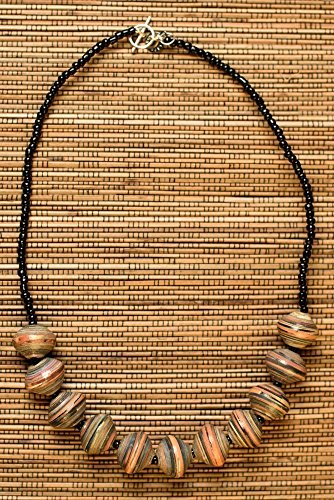 Paper Bead Chunky Asali Necklace - Earthtone - Fair Trade BeadforLife Jewelry from Africa ()