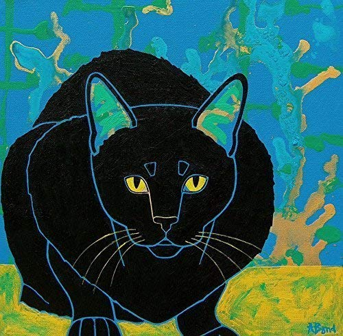 Intense Black Kitty Tile Art Coaster, Cat Lover Gift Collectible by Angela Bond