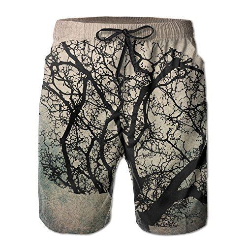 Price comparison product image GSSHA Human Brain Black Tree Men's Beach Shorts Pants Summer Men Beach Pants X-Large