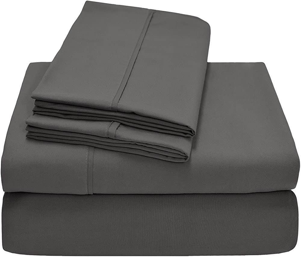Ras Decor Linen Duvet Cover Set Western King, Dark Grey Solid, 3 Piece Duvet Set (1 Duvet Cover + 2 Pillow case) - Hotel Quality 100% Cotton with Zipper Closure Duvet Cover Western King Size
