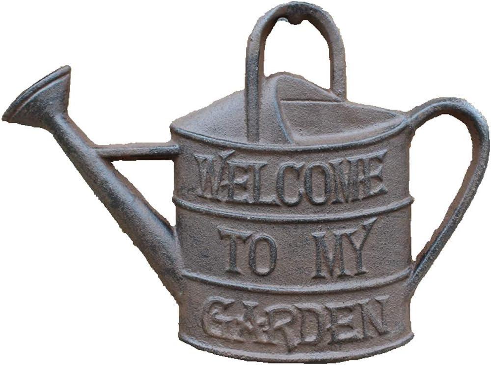 CKH Adornos Europeos Jardín Exterior Patio Caldera Puerta Decoración de Pared Tarjeta de Bienvenida de Hierro Fundido Jardín Decoración de Pared Decorativa