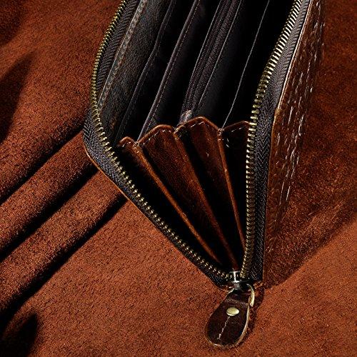 Le'aokuu Carteras de moda para hombre bolsa de mano monederos de piel genuina Organizadores de bolsos Café Tigre