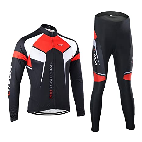 Lixada Men s Long Sleeve Cycling Jersey   Padded Pants Quick-dry Breathable Bicycle  Cycling Suits 3dbd6ca61