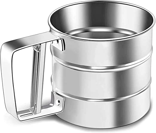 NPYPQ Stainless Steel Flour Sifter Small Baking Sieve Cup for Powdered Sugar - 2.5 Cup