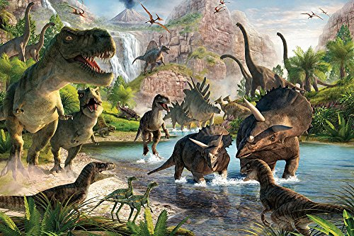 Qian Jurassic Park Photography Background 3D Dinosaur Photo Studio Props Booth Party Decoration Backdrops Vinyl 5x3FT ly022 ()