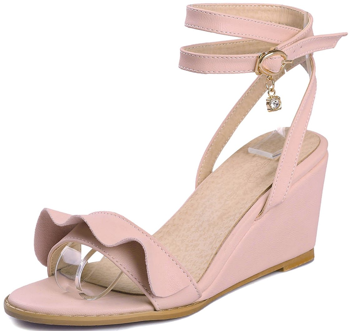 KingRover Women's Pendant Open Toe Single Band Ankle Strap Comfy Shoes Mid Heels Wedge Sandals B07BT2KVMK 5 B(M) US|1pink