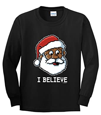 dabbing santa ugly christmas sweater i believe black santa claus ugly christmas sweater youth long sleeve