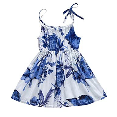 PAOLIAN Vestido para bebe niñas Verano 2018 princesa Vestido de la honda Impresion Florales Sin manga