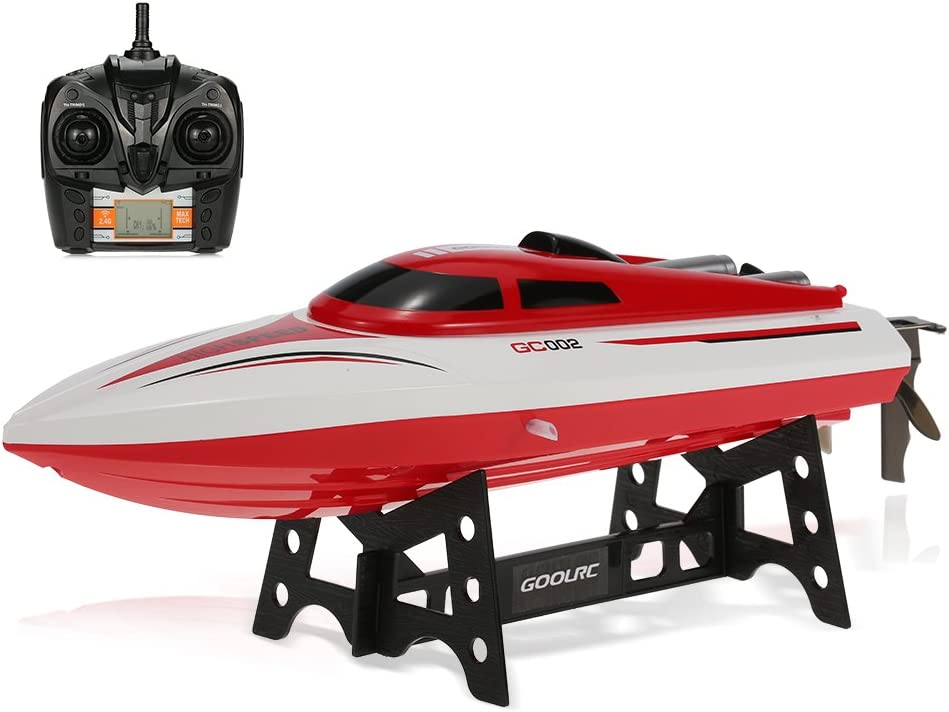 GoolRC GC002 Remote Control Boat 2.4GHz 20km/h High Speed Electric 180 Degree Flipping RC Racing Boat Perfect Toy for Pools and Lakes