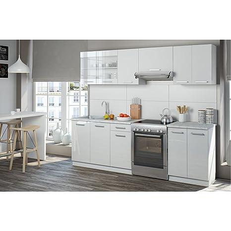 Serina Küchenzeile 240 Cm   7 Schrank Module Frei Kombinierbar   Küche  Küchenblock Einbauküche U2013 Hochglanz (Weiß Hochglanz): Amazon.de: Küche U0026  Haushalt