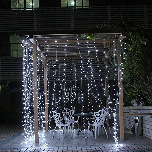 Neretva Window Curtain Icicle Lights, 600 LEDs String Fairy Lights, 19.68FTx9.84FT, 8 Modes Linkable , Icicle Fairy Lights for Christmas Party Wedding Home Patio Decorative Lights (White)
