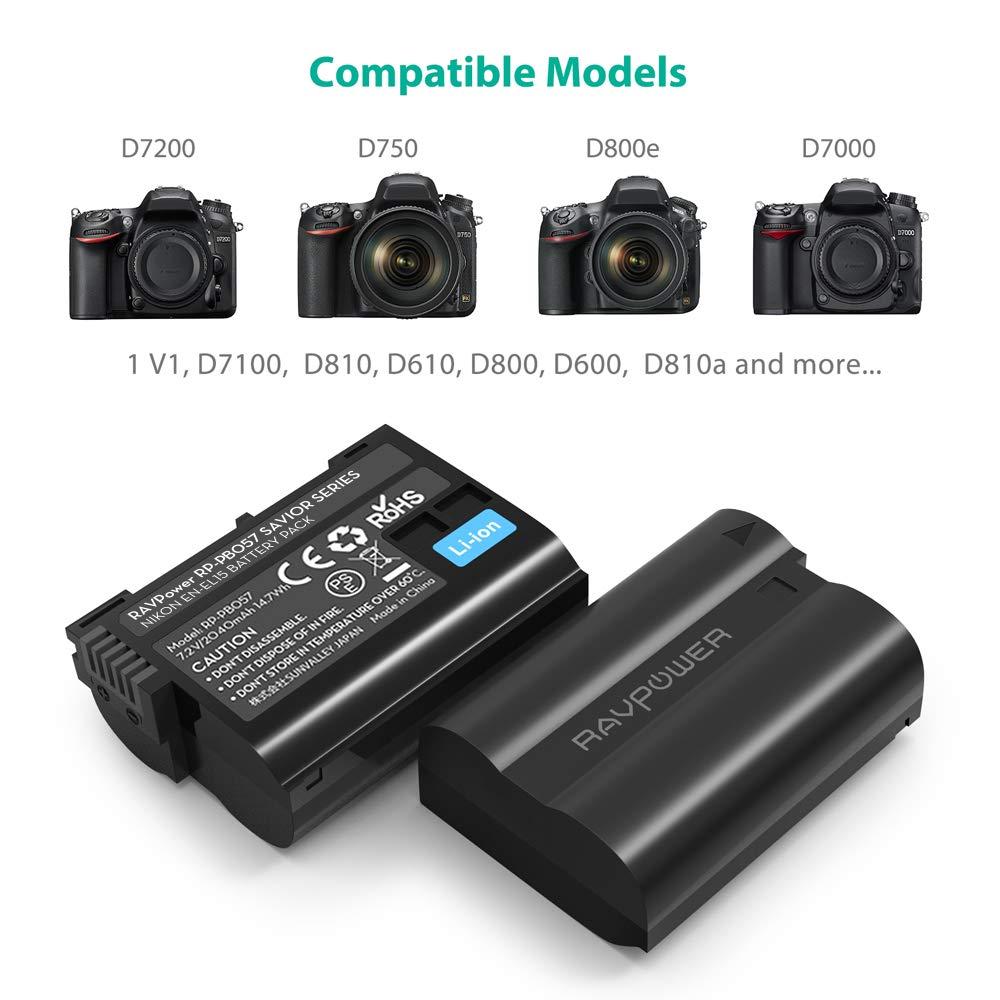 EN-EL15 EN EL15a RAVPower Battery Charger Set Compatible with Nikon d750, d7200, d7500, d850, d610, d500, MH-25a, d7200, z6, d810 Batteries (2-Pack, ...