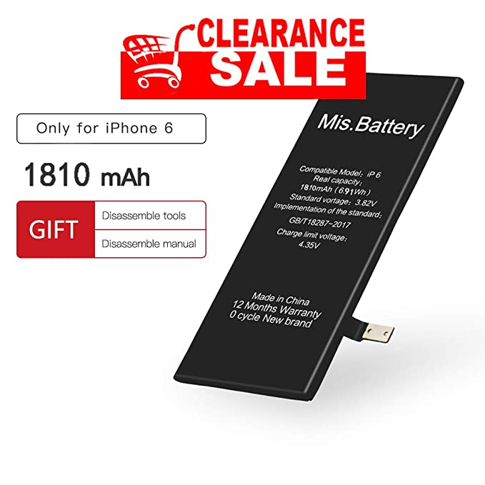 iPhone 6 Battery, iphone Battery 6 Replacement Li-ion battery with Repair  Replacement Kit for iphone 6 4 7inch 3 82v 1715 mAh by Mis Battery (for 6