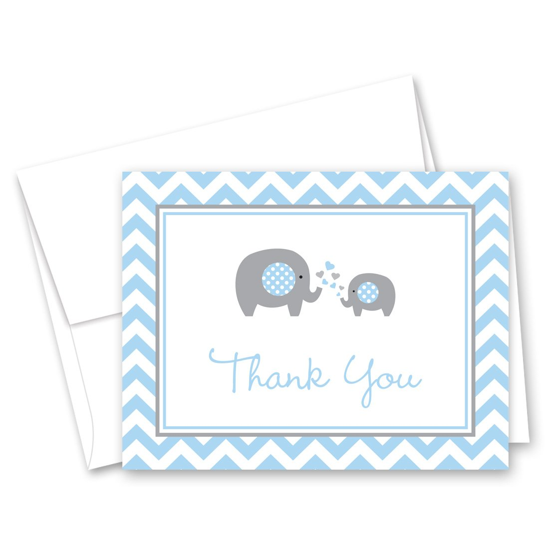 50 Cnt Grey Blue Chevron Elephant Baby Shower Thank You Cards