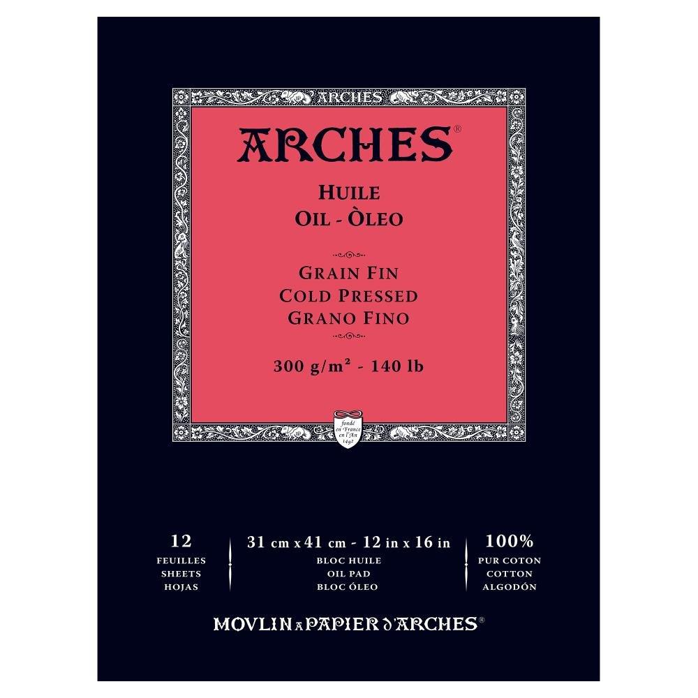 Arches Blocco per Olio incollato 1 Lato (12 Fogli) - Grana fina - 300 g/mq - 23 x 31 cm 1795108