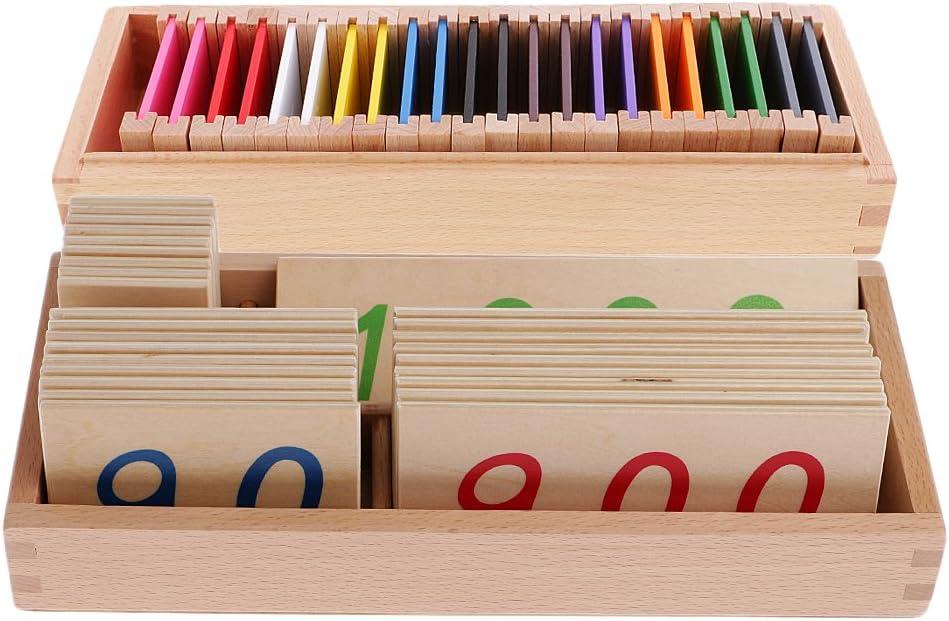 PETSOLA Cartas De Números De Madera Montessori Mathematics 1-3000 + Set De Cajas De Colores: Amazon.es: Juguetes y juegos