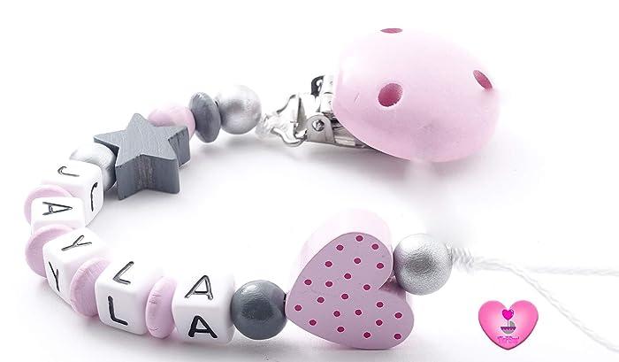 Schnullerkette mit Namen rosa Baby Geschenk Sterne Mädchen grau