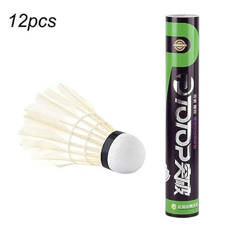 f42cdd45c088e Ballylelly 12pcs / Set Plume d'oie Professionnelle Badminton Set  compétition Volant de Jeu pour