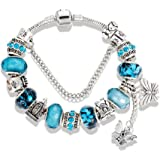 QUEEN JULIA Charm Bracelets for Women Girls Pandora Heart charms Love, Lock and Key, Butterfly, Bear, Life Tree For Women for Valentines Birthday