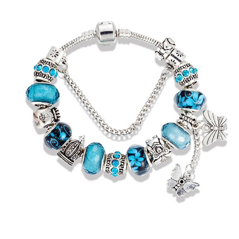 Blue Charm Bracelets for Women Girls Pandora charms with Butterfly bracelet for girlfriends and mothers day, Birthday, Anniversary Gift