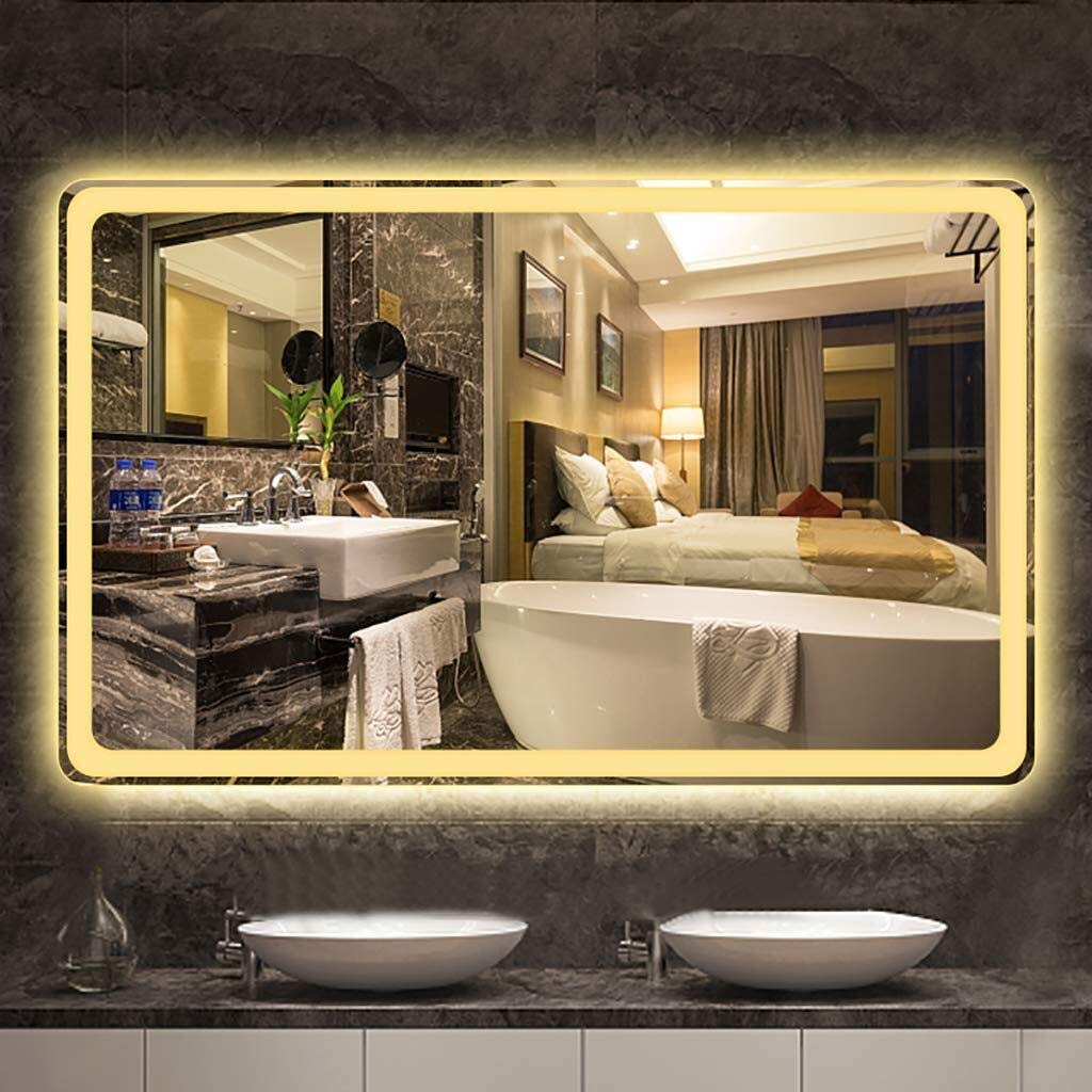 Beauty mirror LED Bathroom Mirror WallIlluminated Bathroom Mirror 5MM Explosion-Proof Mirror 23.6 Inch X 31.5 Inch White Warm Light Rectangle Washroom Toilet Makeup Mirror Dressing mirror by Makeup Mirrors