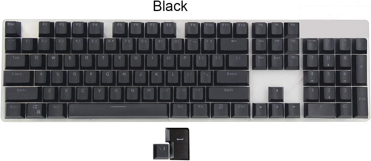 NPKC PBT OEM 104-key ANSI Layout Top Printed Shine-Through Double-Shot Keycaps Translucent Backlit for MX Switches of Mechanical Keyboard Black
