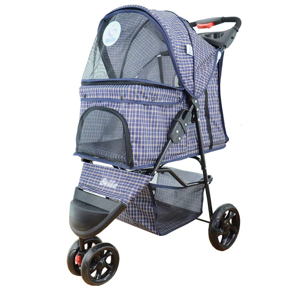 Lattice MMM@ Pet Stroller Lightweight Folding Pet Trolley, Dog, Cat, Dog, Teddy, Cart Cage 3-wheeled Outdoor Travel Supplies trolley (color   Lattice)
