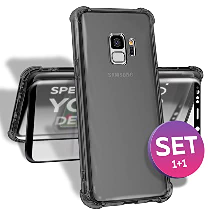 S9 Case with Screen Protector 2-in-1 - Crystal Clear TPU Shockproof Rugged Case with Reinforced Corners - Screen Protector 9H Tempered Glass - Samsung ...