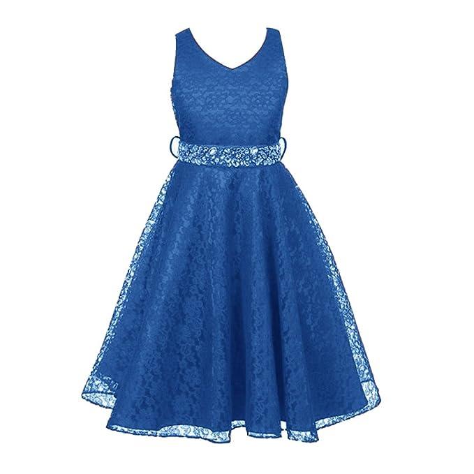 Free Fisher - Niñas Vestidos de Princesa Boda Fiesta Vestidos Elegantes Brillantes de Encaje Floreado,