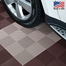 "Drain Perforated Interlocking Garage Flooring Tiles, 12"" x 12"" x 1/2"" - 30 Pk. (Beige)"