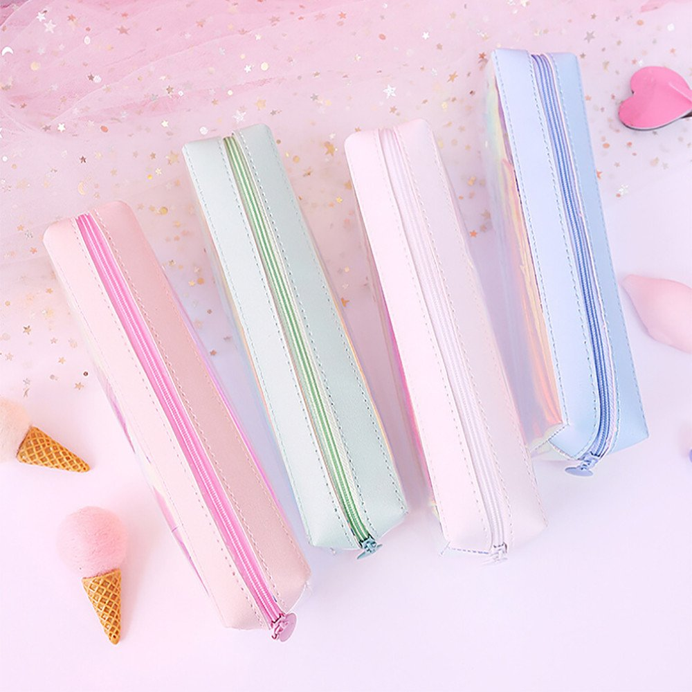 Freshzone Laser Pencil Case Transparent Colorful Glitter Pen Box Makeup Bag Square Pen Pencil Storage Pouch Big Capacity