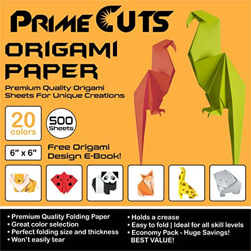 PrimeCuts 500 SHEETS Origami Paper 6x6 20 Colors - Double Sided and Single Sided Sheets - E-Book Tutorial Included