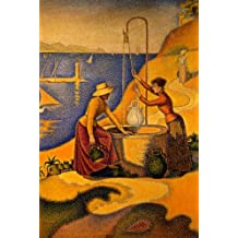 WOMEN AT THE WELL 1892 DRAWING WATER HILL SEA BY PAUL SIGNAC LARGE PRINT REPRO
