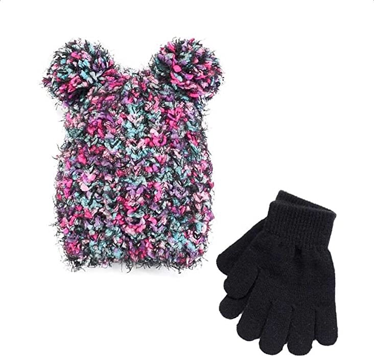 d05d265adf608 Amazon.com  SO Girls 2PC Winter Set Spacedye Pom Pom Hat Gloves ...