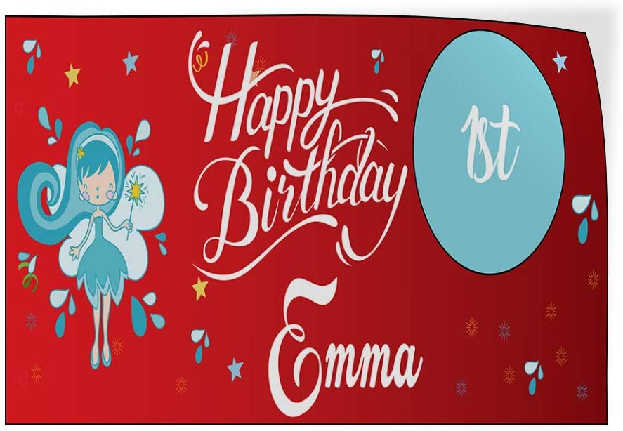 Custom Door Decals Vinyl Stickers Multiple Sizes Happy Age Birthday Girl Name Fairy Lifestyle Happy Birthday Signs Outdoor Luggage /& Bumper Stickers for Cars Red 69X46Inches 1 Sticker