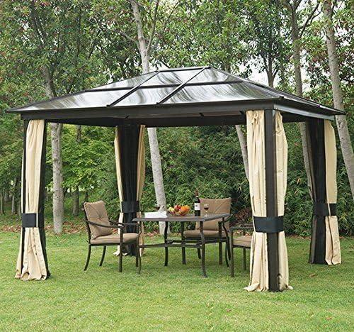 Outsunny – Cenador de lujo en aluminio, pérgola de jardín de 300 x 360 x 265 cm: Amazon.es: Hogar