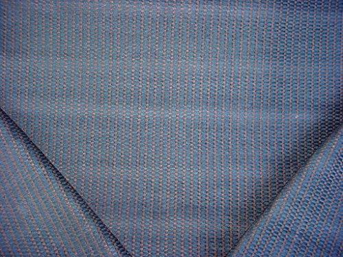 236RT13 - Lapis Lazuli Blue / Mocha Cushiony Textured Chenille Designer Upholstery Drapery Fabric - By the ()