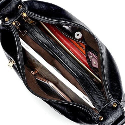 UTO Style Black Bag Leather Women Handbag Shoulder Hobo Zipper Purse Pocket PU SqSrPw8x