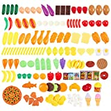 kid fake food - 150-Piece Play Food Set - Large Variety of Fake Plastic Toy Foods for Kids to Play Pretend With - 100% BPA-FREE - Bonus Food Pyramid Card Included