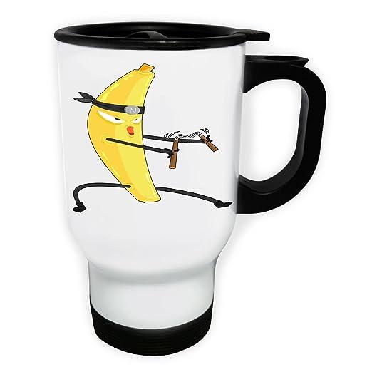 dibujos animados de ninja de plátano Taza de viaje térmica ...