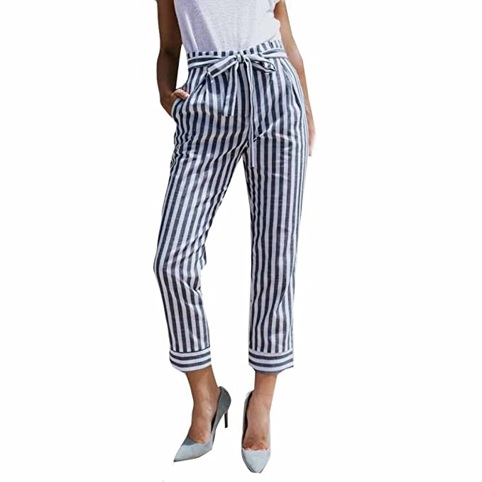 Damen Hosen Sommer LHWY Frauen Vintage Sommerhosen Hohe Taille Streifen  Mode Bandage Casual Straight Tube Hose 9a88ff1a5a