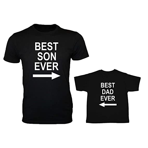 08f356005 YaYa cafe Family T-Shirts Fathers Day Best Son and Dad Ever Combo - Black