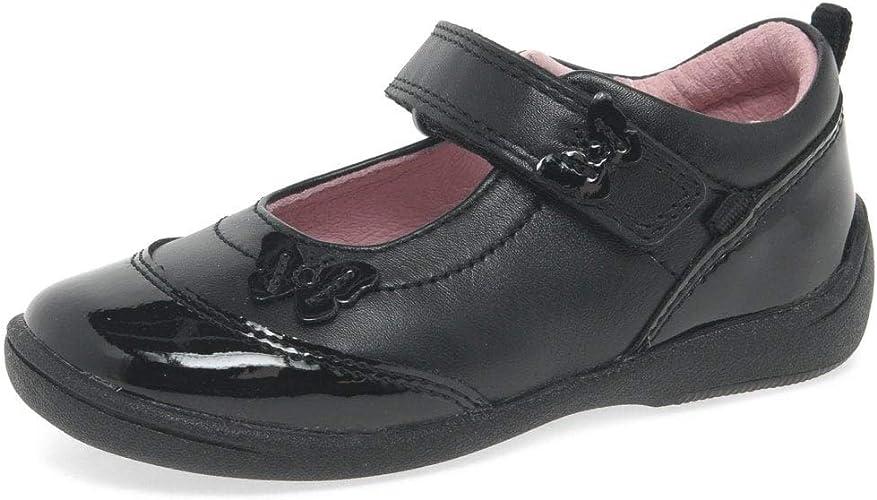 Girls Black Leather Startrite Riptape School Shoes Cutie II