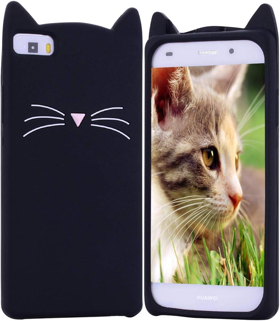 HopMore Compatible pour Coque Huawei P8 Lite 2016/2015 Silicone Souple Chat Animal 3D Motif Drôle Mignonne Etui Étui Antichoc Ultra Mince Fine Housse ...