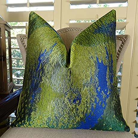 Thomas Collection Emerald Beacon Hill Luxury Throw Pillow Fabric From Italy Royal Blue Citrine Accent Pillow COVER ONLY NO INSERT Made In US 11379