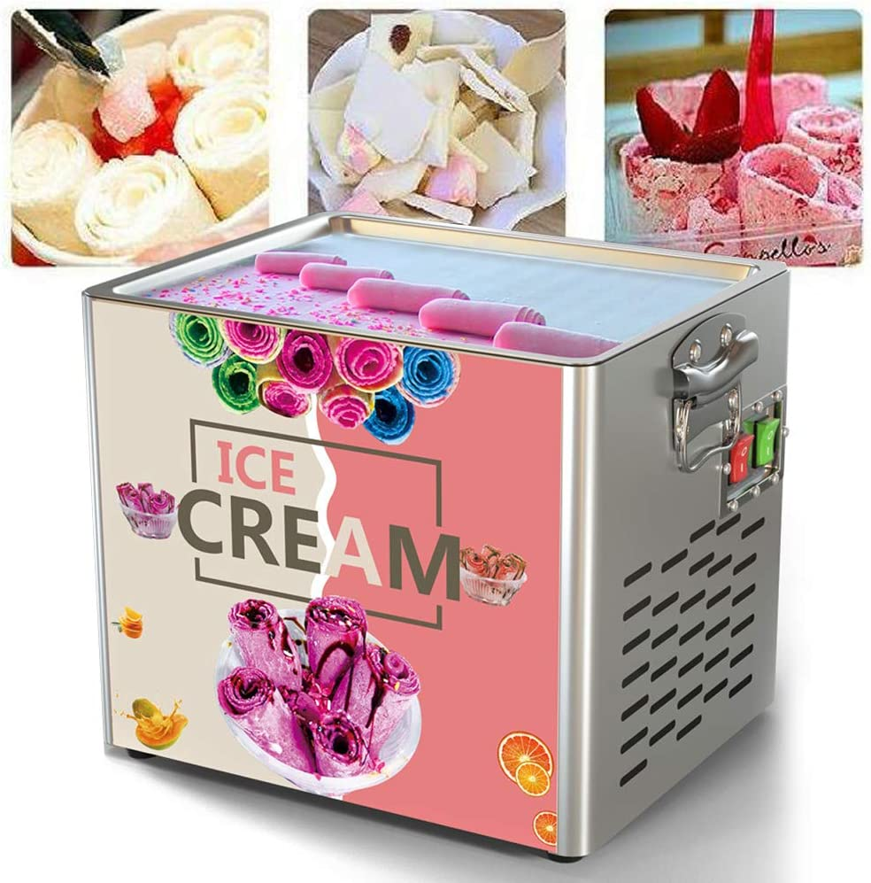 DIY Homemade Ice Cream Maker Frozen Yogurt Rectangle CM 110V Fried Yogurt Roll Machine Home Electric Thai Fried Yogurt Ice Cream Home 180W 34 x 28 x30