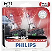 Philips H11 X-tremeVision Upgraded Headlight Bulb, 2 Pack
