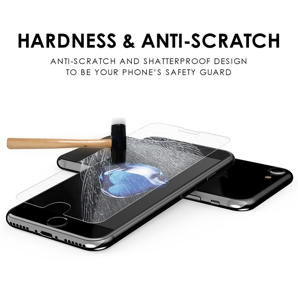 Tembin 9H Tempered Glass Screen Film High Sensitive Touch Protector Not-Full Screen Anti-fingerprin Anti-scratch HD Screen Guard Clear for iPhone 7 / 8 (2 Pack)