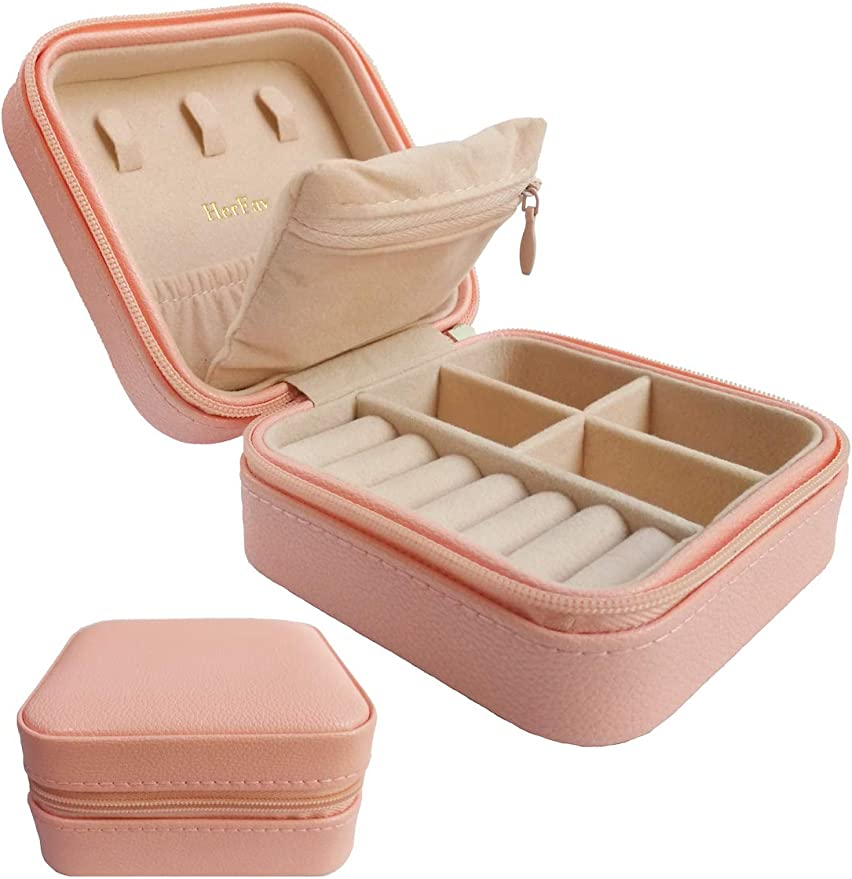 PINK Hidden Compartments Jewelry Roll Case w// 5X Capacity! Ring Holder Compact Jewelry Travel Organizer w// Necklace Holder Earring Organizer Luxurious Travel Jewelry Organizer Jewelry Box